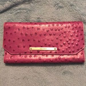 Ostrich Embossed Orchid Purple Leather Wallet